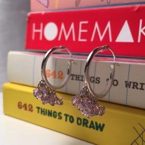 Lavender Swarovski Crystal sterling hoops